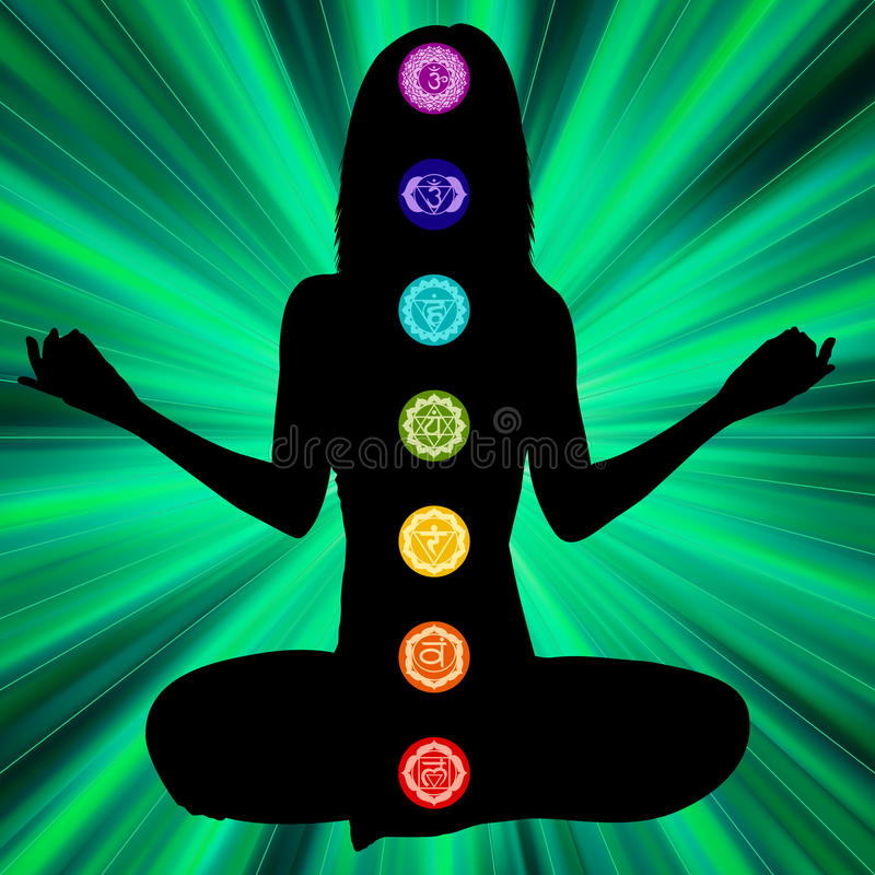 Woman silhouette with chakras on here body. EPS8 royalty free illustration