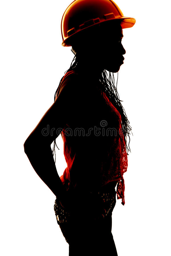 Woman silhouette construction side stock photography