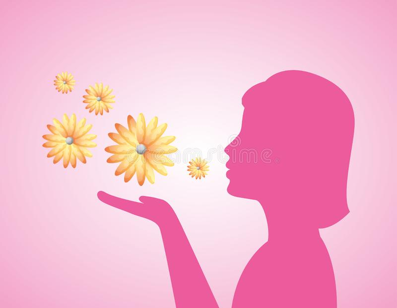 Woman silhouette and flowers vector illustration