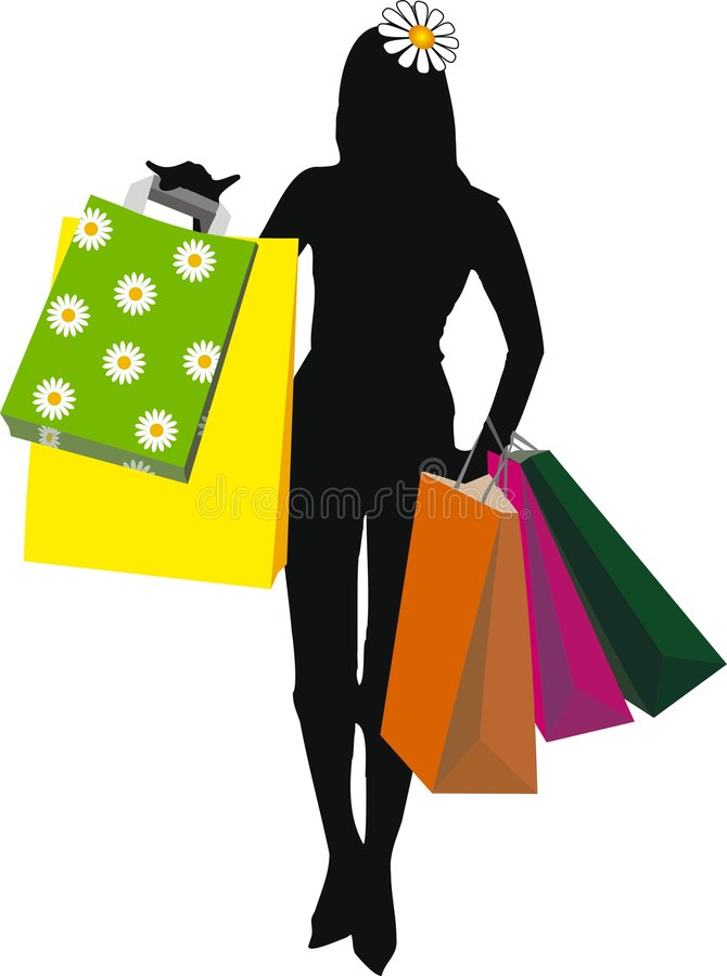 Download Woman Silhouette Illustration With Shopping Bags I Royalty Free Stock Photography - Image: 5677187