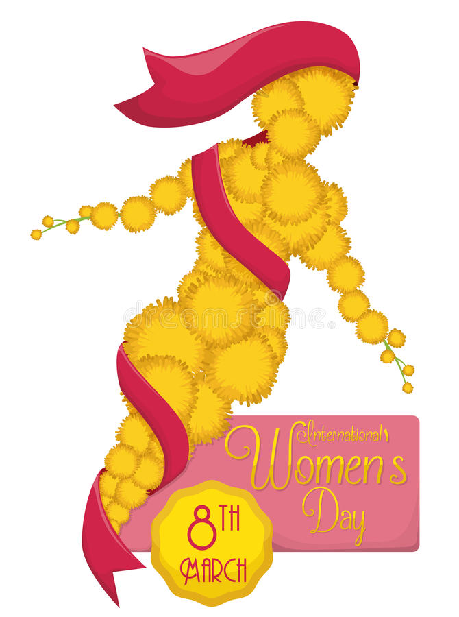 Woman Silhouette with Mimosa Flowers Commemorating Women's Day, Vector Illustration stock image