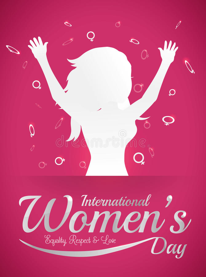 Woman Silhouette with open Arms and Woman Symbols Around for Women's Day, Vector Illustration royalty free stock photography