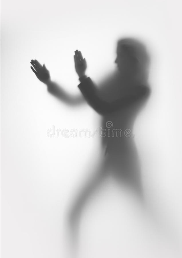 Download Woman Silhouette Protects Herself Stock Image - Image: 35582797