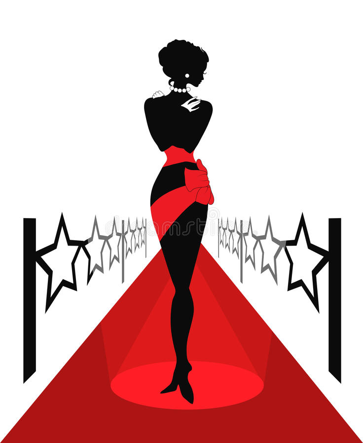 Woman silhouette on a red carpet royalty free stock photo