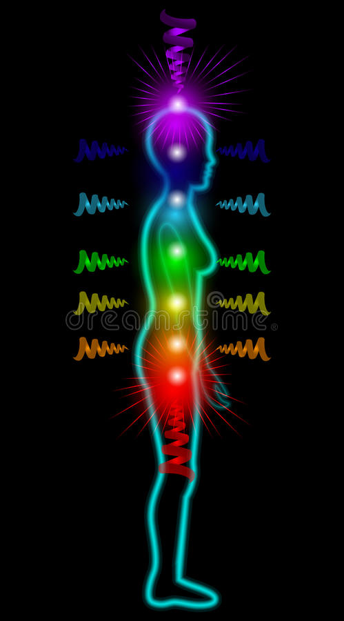 Woman silhouette with seven chakras stock illustration
