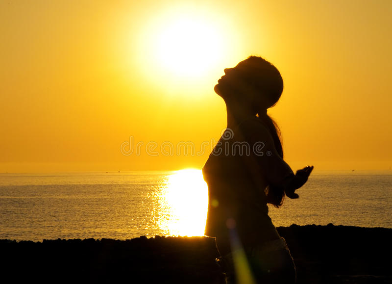 Woman silhouette in the sun royalty free stock images