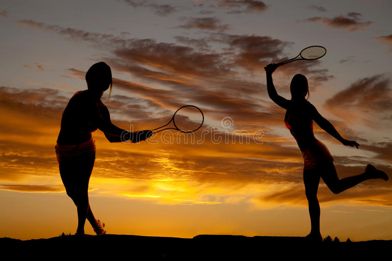 Woman silhouette tennis stock photography