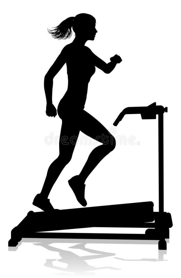 Gym Woman Silhouette Treadmill Running Machine. A woman in silhouette using a treadmill running machine piece of gym fitness equipment royalty free illustration