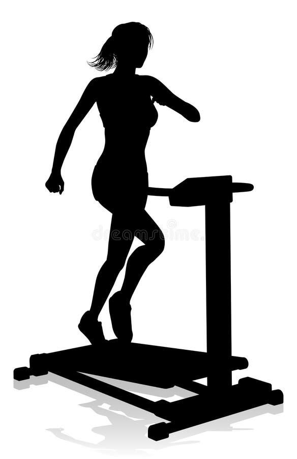 Gym Woman Silhouette Treadmill Running Machine. A woman in silhouette using a treadmill running machine piece of gym fitness equipment stock illustration