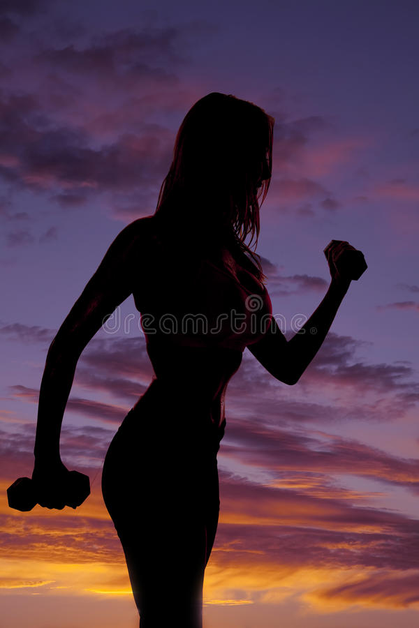 Woman silhouette weights stock images