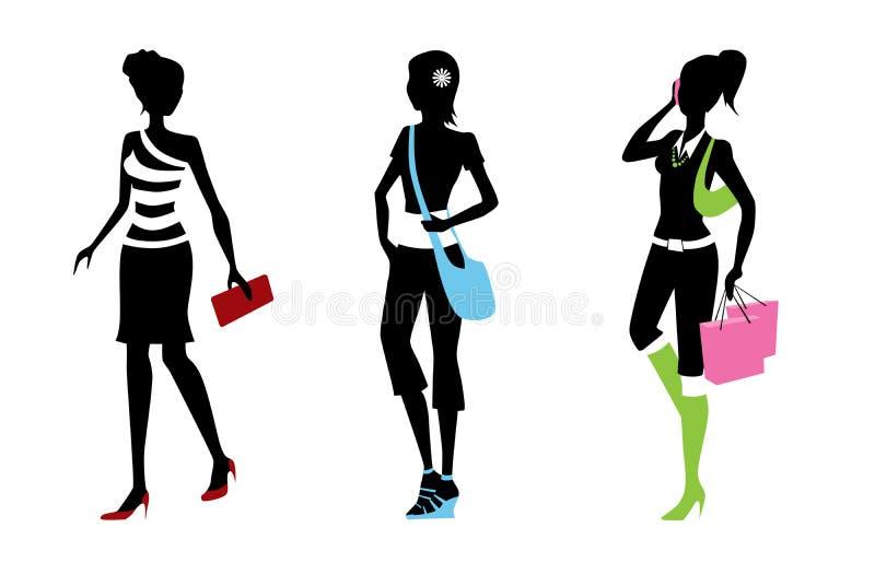 Woman silhouettes stock photos