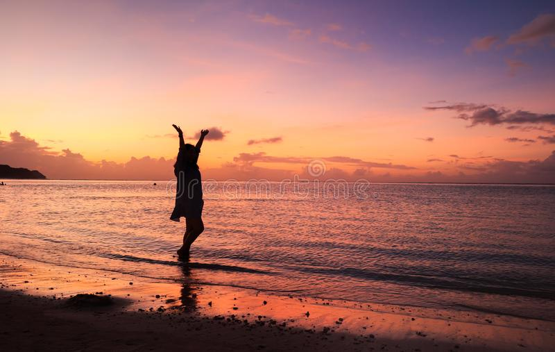 Woman& x27; silhueta de s no por do sol bonito fotos de stock