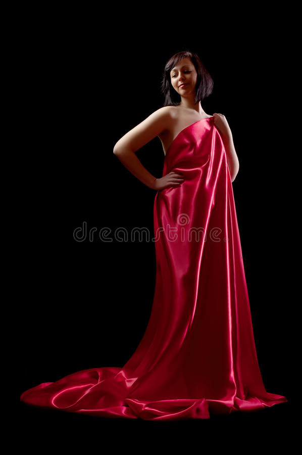 Woman in silk royalty free stock photos