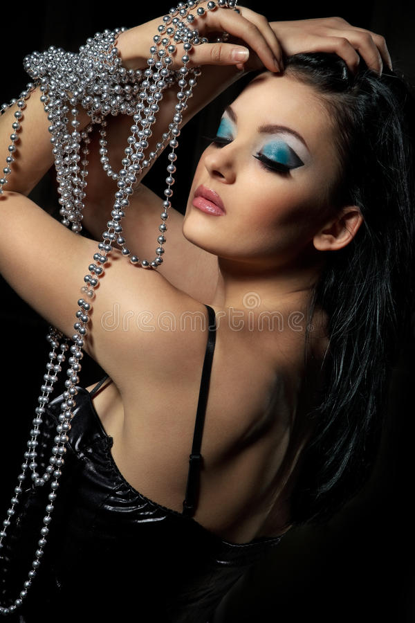 Download Woman with silver beads stock image. Image of glamour - 23996011