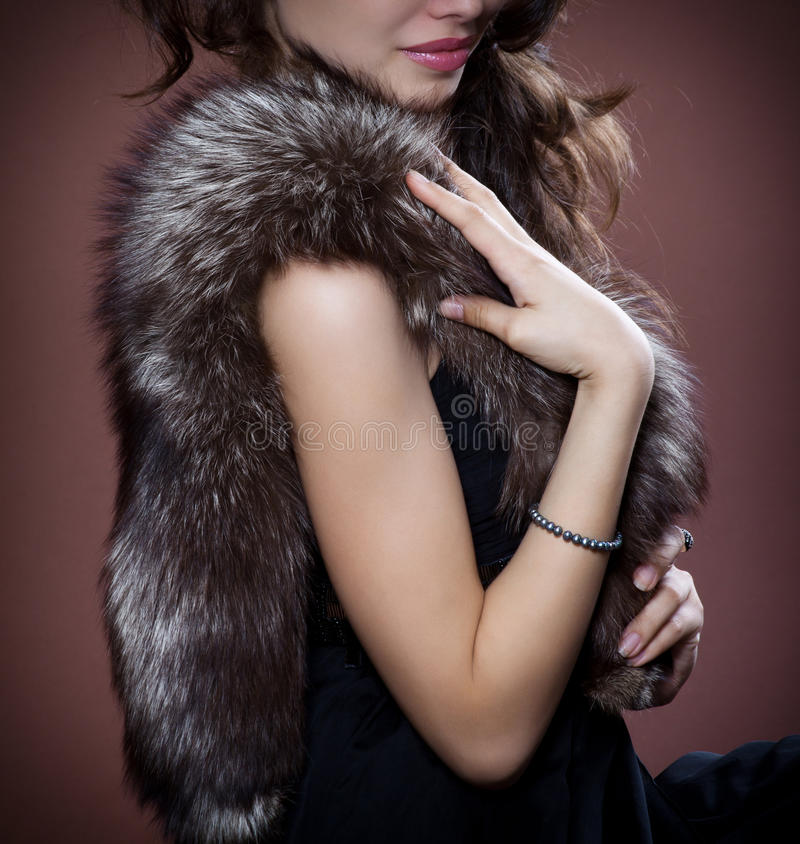 Woman In Silver Fox Fur Royalty Free Stock Images