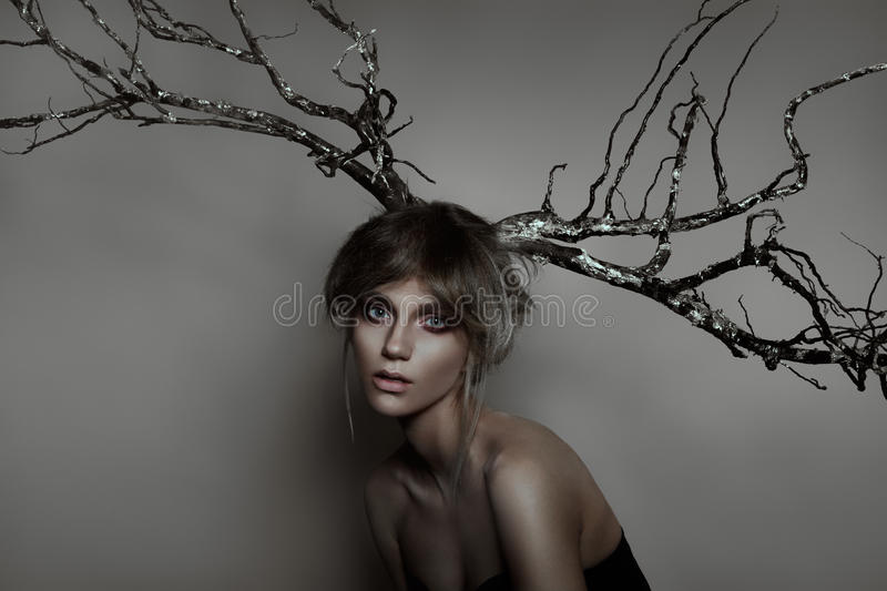 Woman with silver wood royalty free stock photo