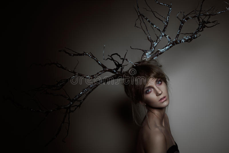 Woman with silver wood stock image