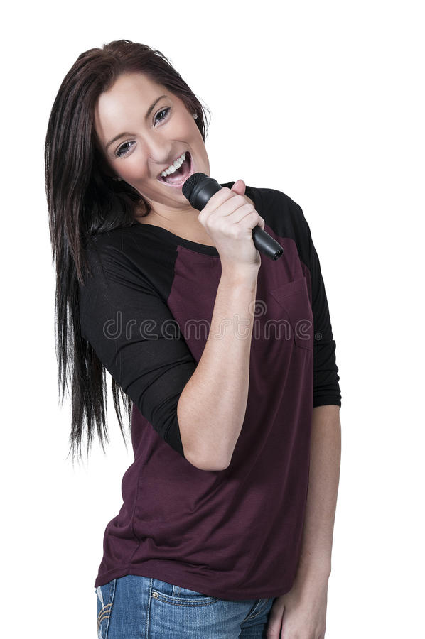 Woman Singer. Beautiful woman singer performing at a concert royalty free stock images