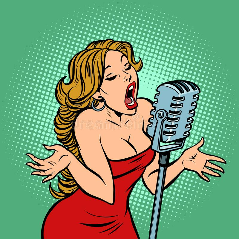 Woman singer at the microphone. Music concert scene vector illustration