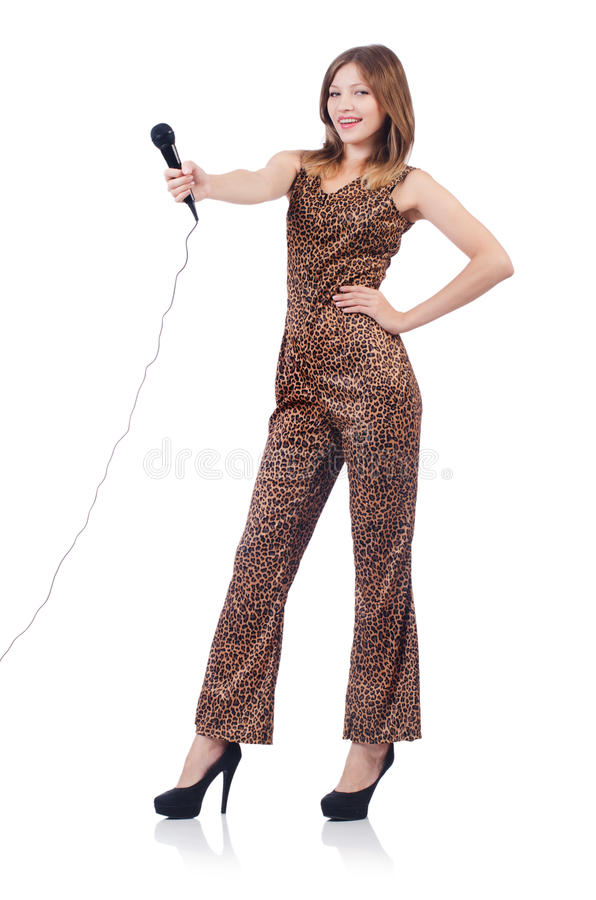 Download Woman Singer With Microphone Stock Image - Image: 34469503