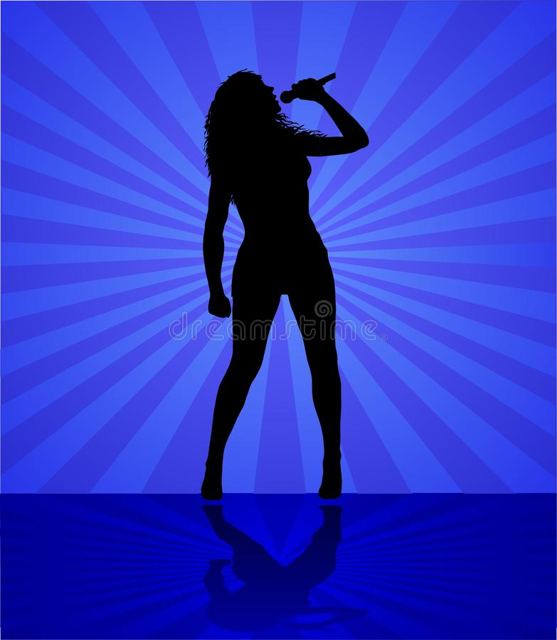 Free Woman Singer On The Blue Royalty Free Stock Photography - 16699807