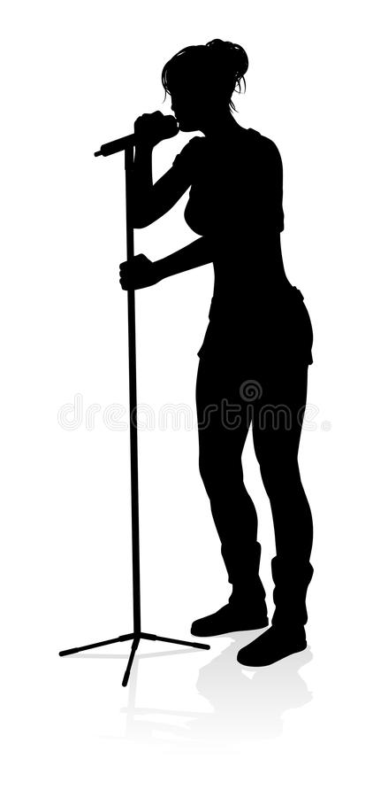 Download Singer Pop Country Or Rock Star Silhouette Woman Stock Illustration