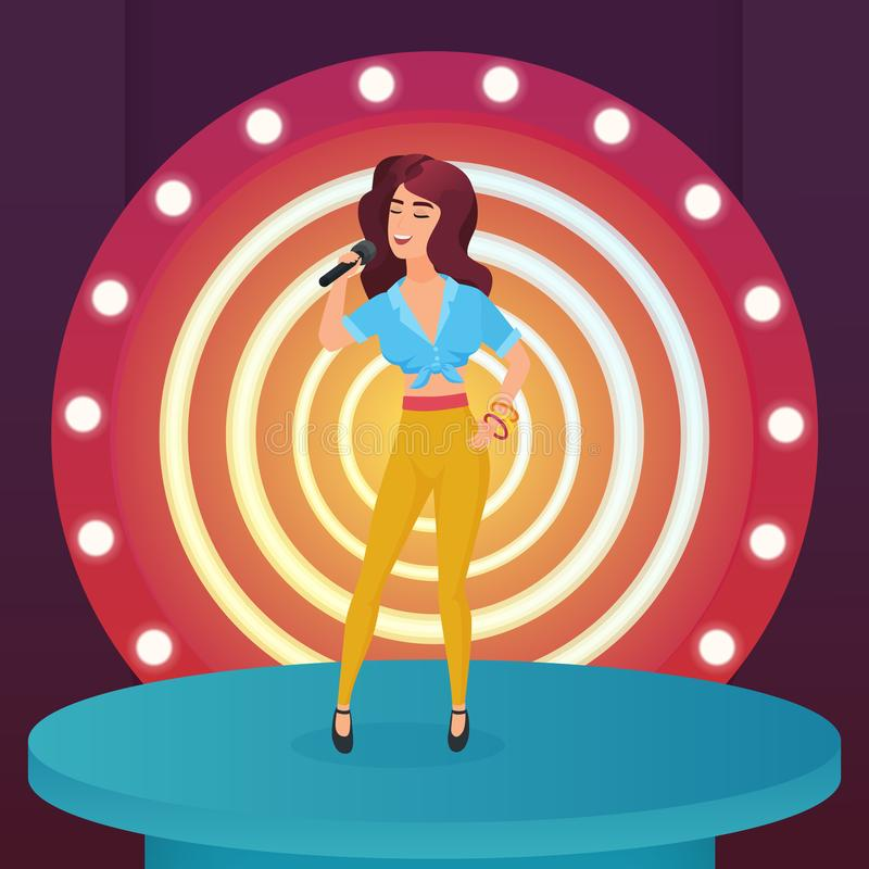 Woman singer star singing pop song with microphone standing on circle modern stage with lamps vector illustration. Woman singer star singing pop song with royalty free illustration