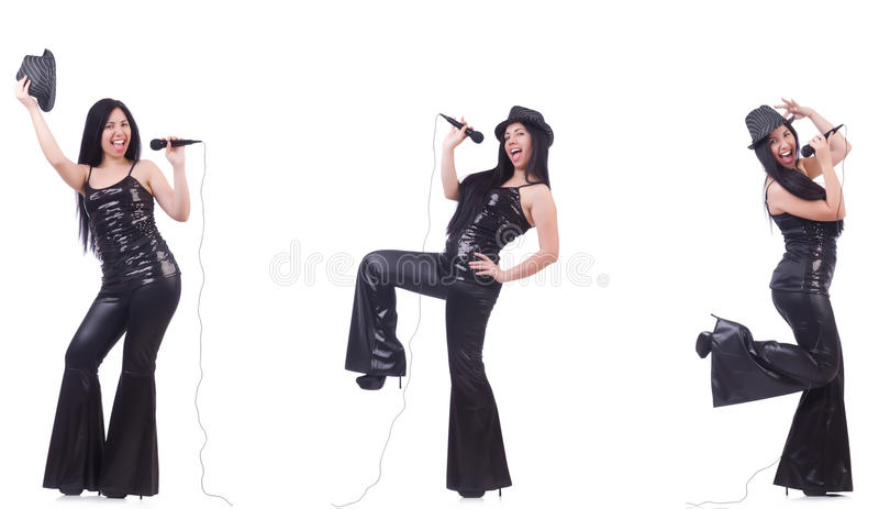 The woman singing in karaoke club in various poses on white. Woman singing in karaoke club in various poses on white royalty free stock images