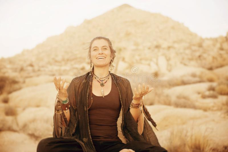 Joyful Desert Shaman Woman Singing royalty free stock photo