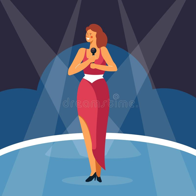 Woman singing sing with microphone standing on stage. Vector pop star singer in red dress with performance spotlight background vector illustration