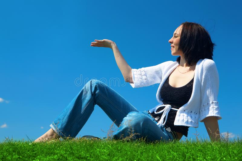 Download Woman sit in green field stock image. Image of grass, girl - 5321455