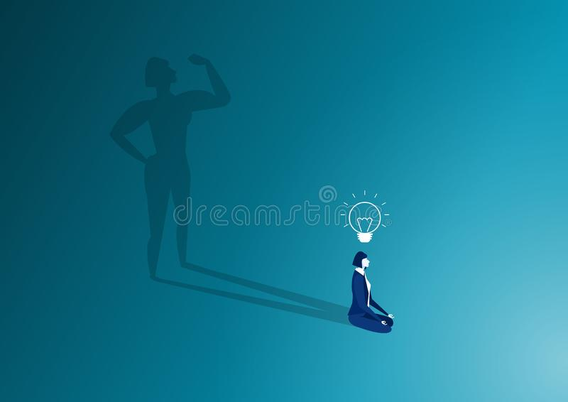 Woman sit in meditation pose and woman body strong shadow. Relaxation after work concept. High full level energy battery vector illustration