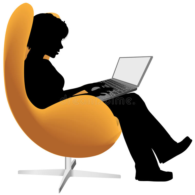 Woman sits chair work on laptop computer vector illustration