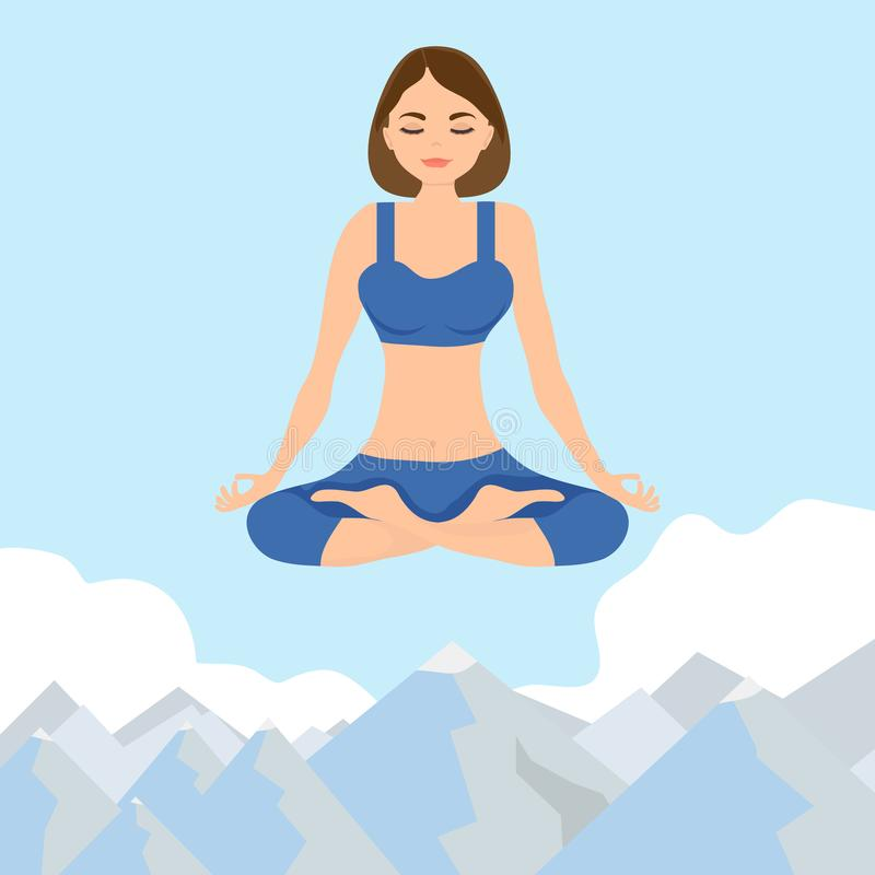 A woman sits in a lotus position and flies above the clouds. A woman in a lotus position flies above the clouds. Vector illustration of a woman in the lotus stock illustration