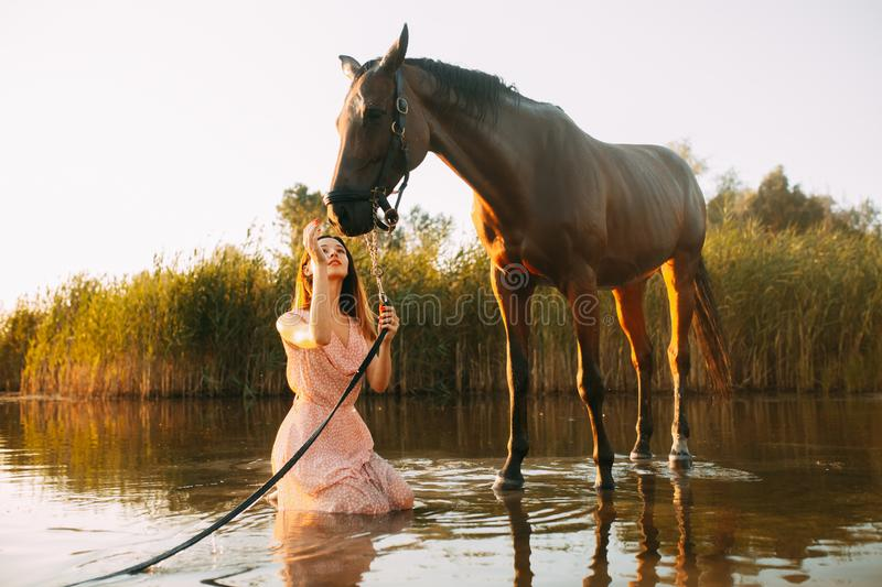 Woman sits next to the horse on the river at sunset. A young woman sits next to the horse against background of the river at sunset. Backlight stock photography