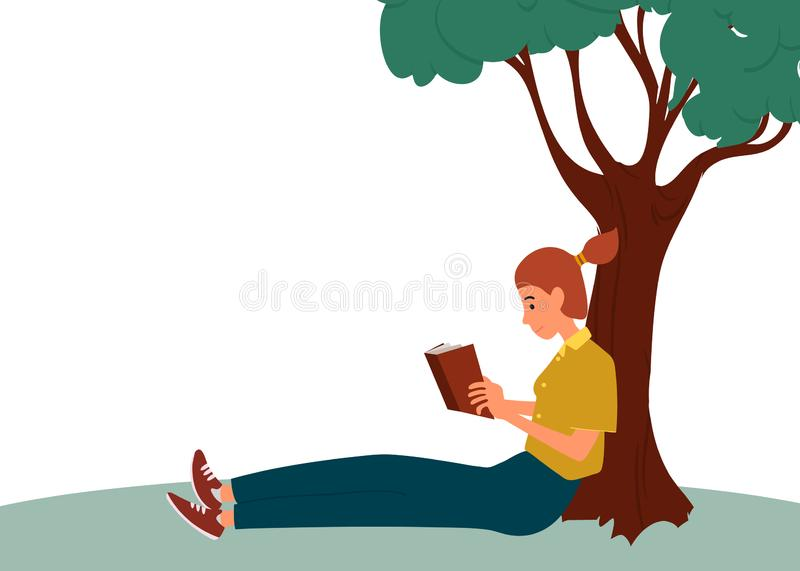 A woman sits reading a book in a park near a tree. Girl leisure time. Woman is reading a book. Cute young girl resting.Vector. A woman sits reading a book in a vector illustration