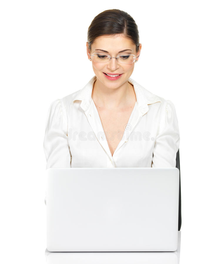 Download Woman Sits From The  Table With Laptop In White Shirt Stock Image - Image: 33774821