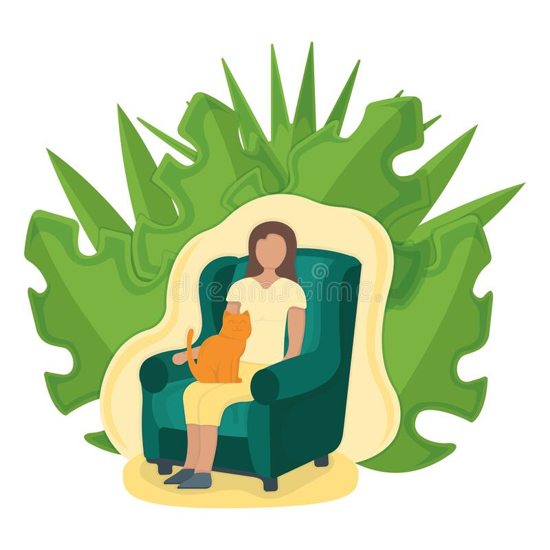 Woman sitting on armchair with cat in arms with leaf background, female character rest, relax. Isolated on white, flat vector. Illustration. Girl sleeping on vector illustration