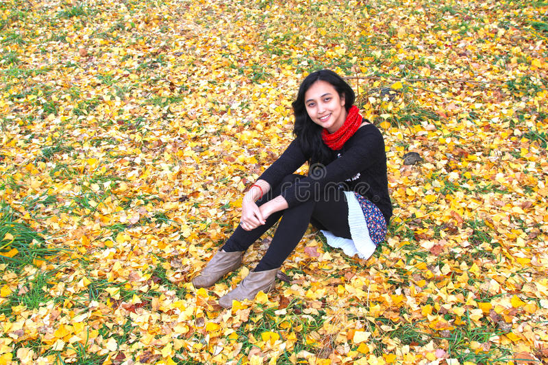 WOMAN SITTING ON AUTUMN LEAVES. A woman sitting on fallen autumn leaves in Japan royalty free stock photos