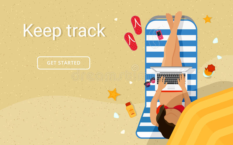 Woman sitting on the beach and working with laptop in social networks vector illustration
