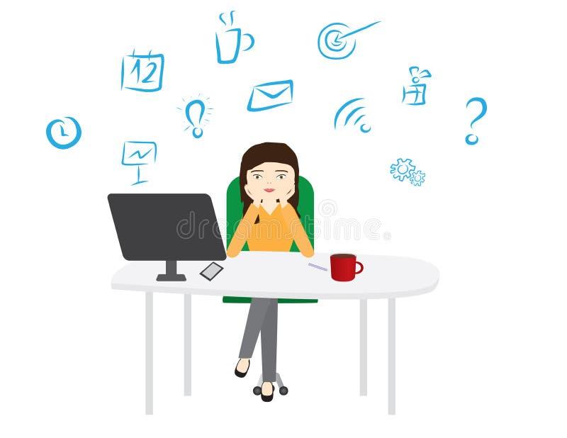 Woman sitting behind a white desktop woman leaning on her hands. Young woman leaning on her hands behind a white desktop with computer screen, coffee mug and royalty free illustration