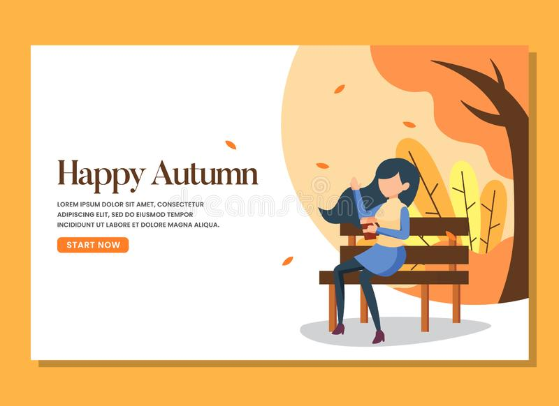 A woman sitting in the bench in the warm autumn day landing page royalty free stock image
