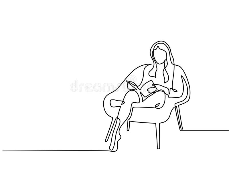 Woman sitting with book in chair vector illustration