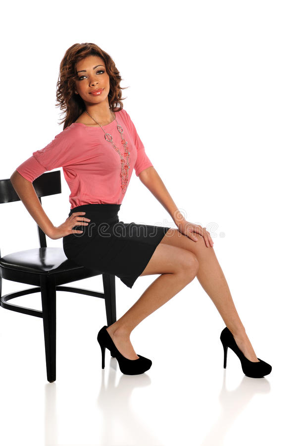 Woman Sitting on Chair stock photos