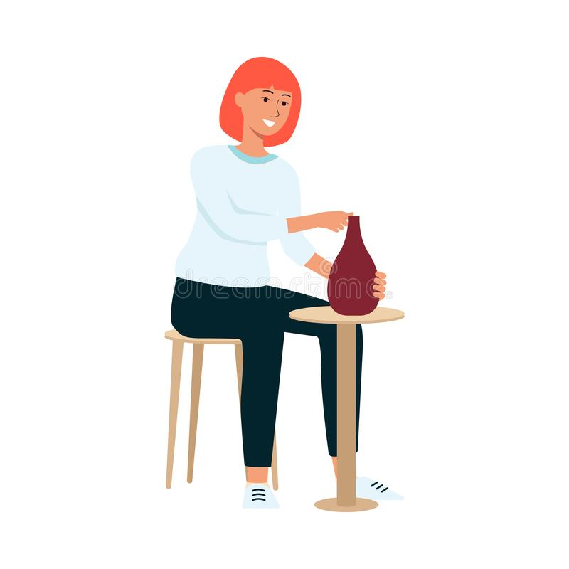 Woman is sitting on chair and crafting clay vase cartoon style. Vector illustration isolated on white background. Female ceramist is making earthenware at stock illustration