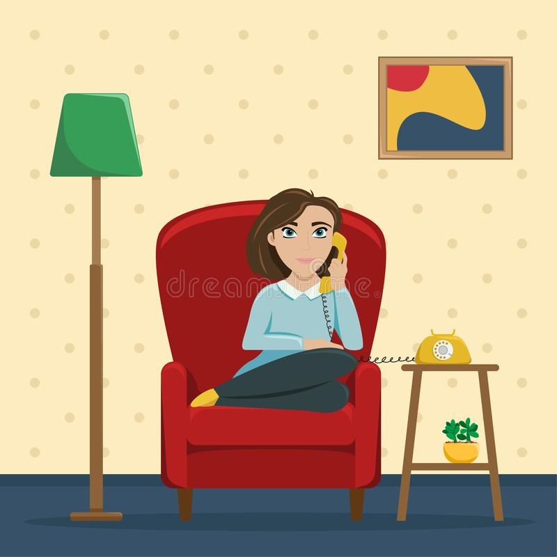 A woman sitting in a chair at home talking on the phone. Cozy conversations with a friend. Flat vector illustration stock illustration