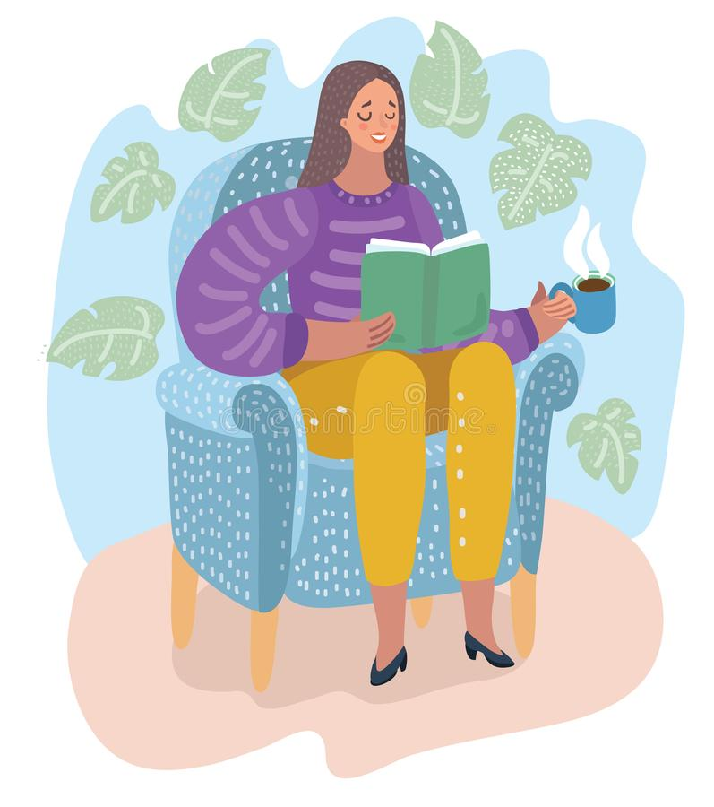 Woman sitting on chair and reading book. Holiday stock illustration