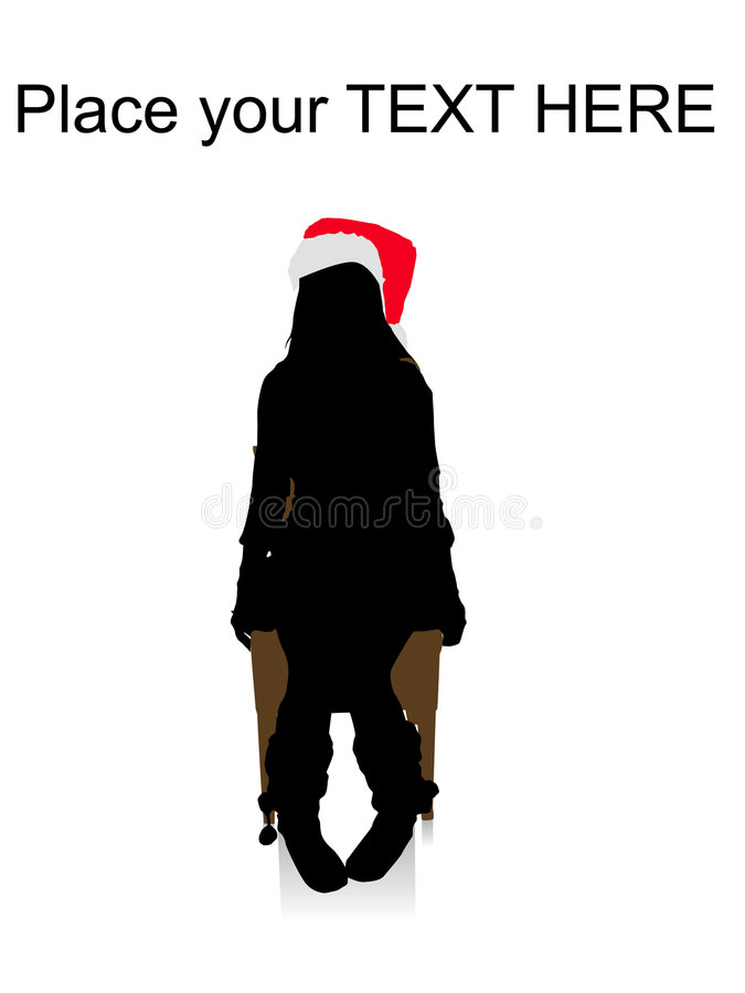 Woman sitting on chair and wearing christmas hat