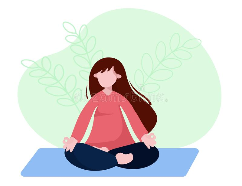 Woman is sitting with crossed legs and meditate. Concept illustration for yoga, pranayama, meditation, relax, healthy stock illustration
