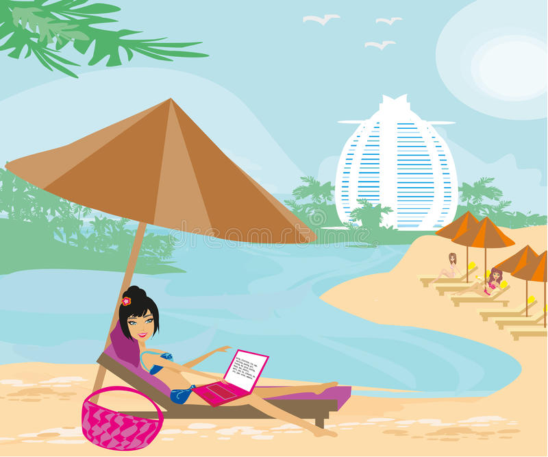 Woman sitting in deck chair and using laptop computer. Vector Illustration royalty free illustration